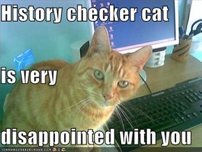 History checker cat  is very  disappointed with you