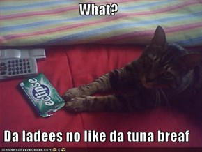 What?  Da ladees no like da tuna breaf