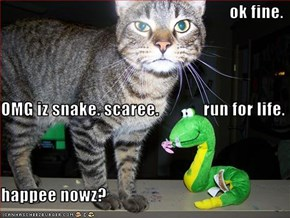 ok fine. OMG iz snake. scaree.             run for life. happee nowz?