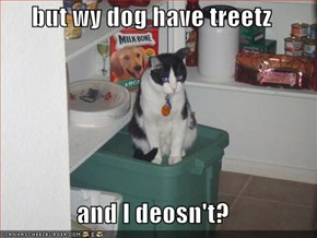 but wy dog have treetz  and I deosn't?