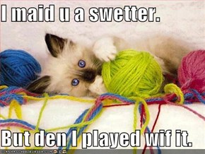 I maid u a swetter.  But den I played wif it.