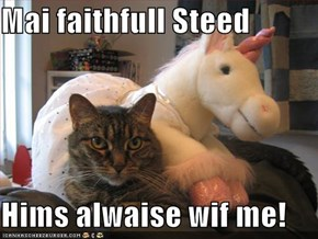 Mai faithfull Steed  Hims alwaise wif me!