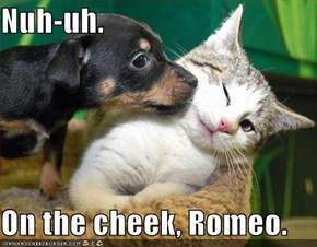 Nuh-uh.  On the cheek, Romeo.