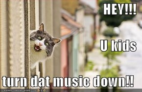 HEY!!! U kids  turn dat music down!!