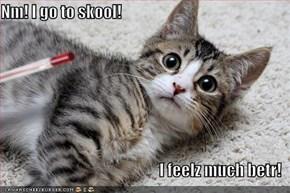 Nm! I go to skool!  I feelz much betr!