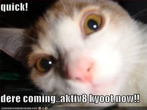 quick!  dere coming..aktiv8 kyoot now!!