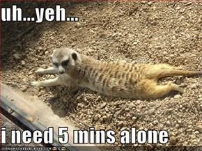 uh...yeh...  i need 5 mins alone