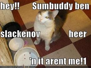 hey!!       Sumbuddy ben slackenov                heer 'n it arent me!1