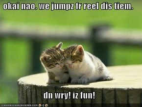 okai nao. we jumpz fr reel dis tiem.  dn wry! iz fun!