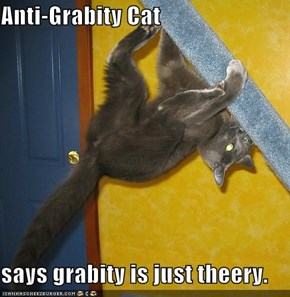 Anti-Grabity Cat  says grabity is just theery.