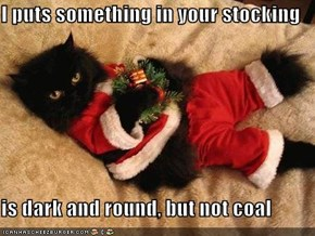 I puts something in your stocking  is dark and round, but not coal