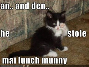 an.. and den.. he                                 stole  mai lunch munny