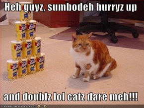 Heh guyz, sumbodeh hurryz up    and doublz lol catz dare meh!!!