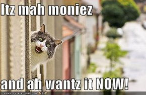 Itz mah moniez  and ah wantz it NOW!