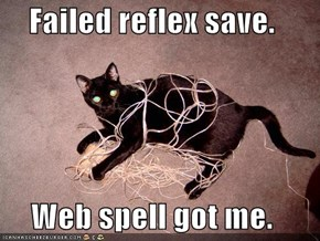 Failed reflex save.  Web spell got me.
