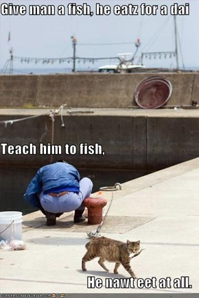 Give man a fish, he eatz for a dai Teach him to fish, He nawt eet at all.
