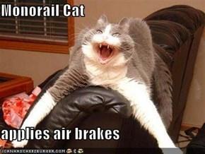Monorail Cat  applies air brakes