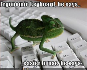 Ergonomic keyboard, he says..  ..easier to use, he says..