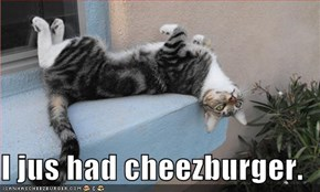 I jus had cheezburger.