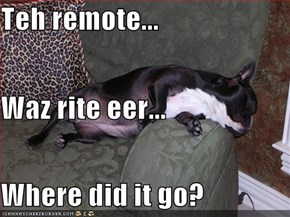 Teh remote... Waz rite eer... Where did it go?