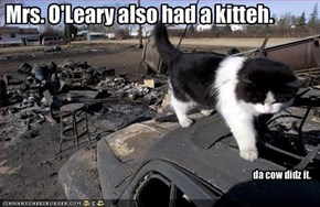 Mrs. O'Leary also had a kitteh.