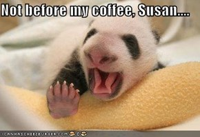 Not before my coffee, Susan....