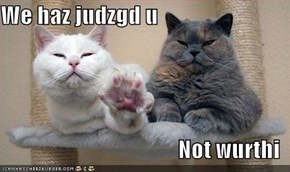 We haz judzgd u  Not wurthi