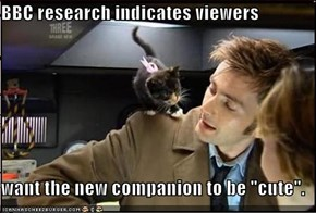 "BBC research indicates viewers   want the new companion to be ""cute""."