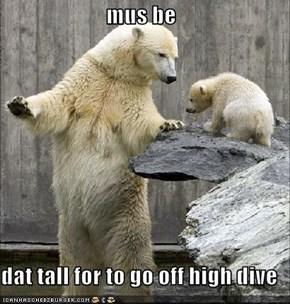 mus be  dat tall for to go off high dive