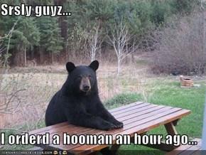 Srsly guyz...  I orderd a hooman an hour ago...