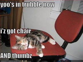yoo's in trubble now i'z got chair  AND thumbz