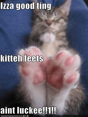 Izza good ting  kitteh feets aint luckee!!1!!