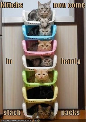 Kittehs                     now come     in                                  handy   stack                            packs
