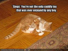 *Sings* You're not the only cuddly toy        that was ever enjoyed by any boy.