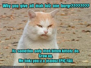 Why  you  give  all  mah  lolz  one  burgr????????