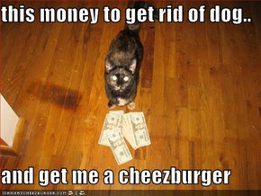 this money to get rid of dog..  and get me a cheezburger