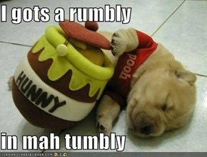I gots a rumbly  in mah tumbly