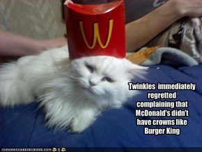Twinkles  immediately regretted complaining that McDonald's didn't have crowns like Burger King