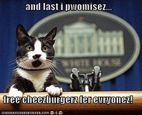 and last i pwomisez...  free cheezburgerz fer evryonez!