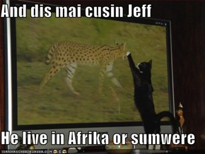 And dis mai cusin Jeff  He live in Afrika or sumwere