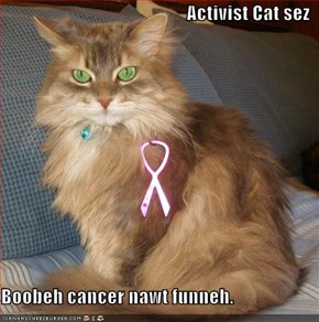 Activist Cat sez  Boobeh cancer nawt funneh.