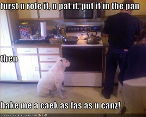 furst u role it, n pat it, put it in the pan then bake me a caek as fas as u canz!