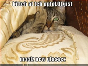 kitteh at teh optoLOLgist  needz new glassez