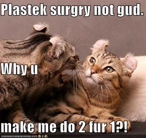 Plastek surgry not gud. Why u  make me do 2 fur 1?!