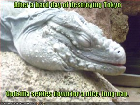 After a hard day of destroying Tokyo  Godzilla settles down for a nice, long nap.