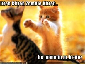 Itteh Bitteh Zombie Kitteh..  be nommin ur brainz