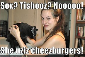 Sox? Tishooz? Nooooo!  She uziz cheezburgers!