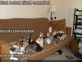 Itteh betteh kitteh commiteh  disrikt convenshun iz in ur livin room