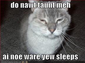 do nawt taunt meh  ai noe ware yew sleeps