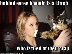 behind evree hoomin is a kitteh  who iz tired of their crap